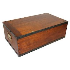 Brass bound teak campaign trunk