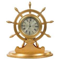 English gilt metal ship's wheel desk clock