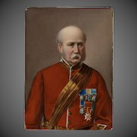 A painted porcelain portrait of Field Marshal Frederick Sleigh Roberts