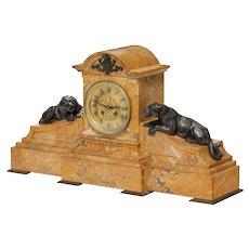 Napoleon III yellow Sienna marble mantel clock