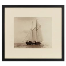 A rare early photographic print of the Schooner Cacouna tack in the Solent