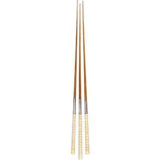 Three oak, silver and ivory trophy billiard cues