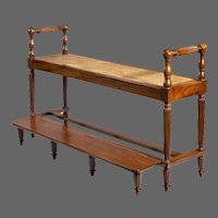 Louis Philippe Mahogany Hall Bench With A Folding Foot-Rest