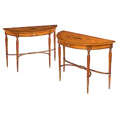 Pair of Sheraton period West Indian satinwood demi lune console tables