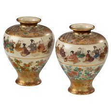 A Pair Of Satsuma Earthenware Vases
