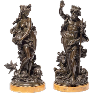 A pair of bronzes depicting Poseidon (Neptune) and Amphitrite by the Moreau Atelier