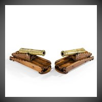 A Pair Of Brass 19th Century Models Of Ship's 32-Pounder Cannon