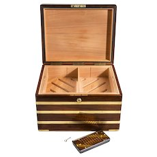 A large brass bound mahogany humidor by J Walker Anderson