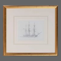 """An unusual pencil drawing of """"Canton"""" a three masted whaling ship by Harold Wylie"""
