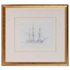 """An unusual pencil drawing of """"Canton"""" a three masted whaling ship by Harold Wyllie"""