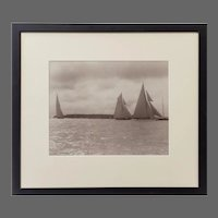 Silver gelatin print of J class racing through Cowes roads Signed Kirk of Cowes