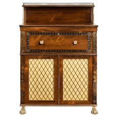 A Regency brass-inlaid rosewood secretaire