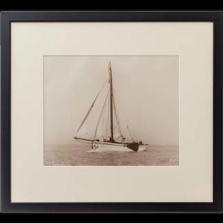 An original print of the Dutch sailing yacht Verona Signed Kirk Cowes