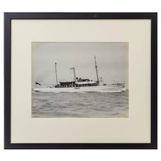 An original gelatine print of a gentleman's steam yacht