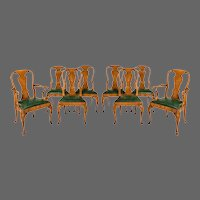 Set of eight Queen Anne style walnut and figured elm dining chairs