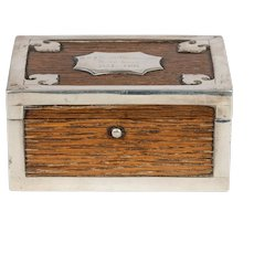 19th century silver mounted oak box from the ship's timbers of HMS Victor Emmanuel
