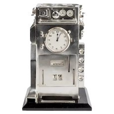 Silver novelty perpetual desk calendar and clock