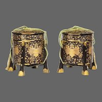 A Pair of Edo Period Black and Gold Lacquer Samurai Helmet Boxes