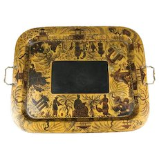 A Regency lacquer papier mache tray by Clay of King street Covent Garden with orientalist decoration and original handles in the form of serpents.
