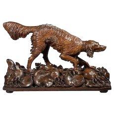 Life Size Black Forest Carved Wood Dog (Setter)