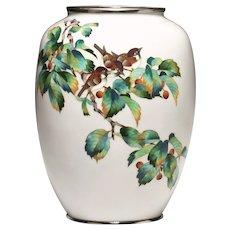 A large Japanese cloisonne vase