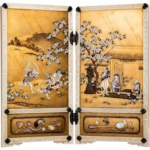 A Meiji period gold lacquer and Shibayama table screen