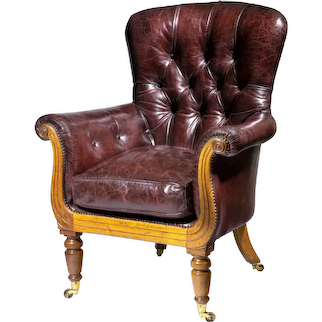A William lV shaped mahogany library chair