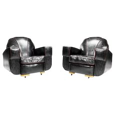 A pair of Art Deco club armchairs