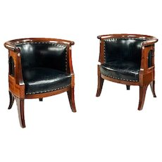 Continental Art nouveau mahogany and mother of pearl arm chairs.