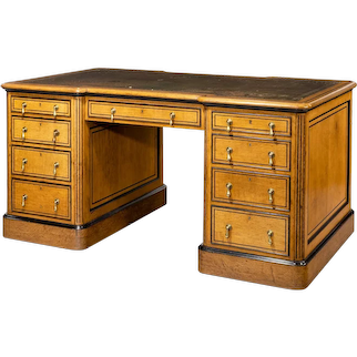 Small Victorian oak and ebony partner's desk, attributed to Holland and Son