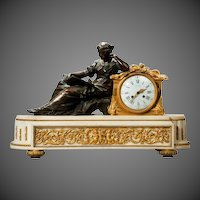 A Napoleon III gilt mantel clock by Deniere