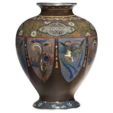 Japanese Meiji period cloisonne vase with silver wire work (Japan, 1868 to 1912)