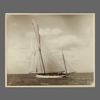 Yacht Brynhild, early silver gelatin photographic print by Beken of Cowes.
