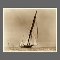 Yacht Arethusa, early silver photographic print by Beken of Cowes.