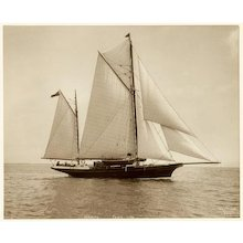 Yacht Daring, early silver photographic print by Beken of Cowes.