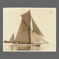 Yacht Nebula, early silver photographic print by Beken of Cowes.