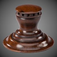19th Century mahogany inkwell in the form of a capstan