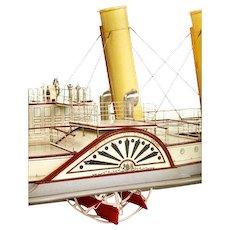 Fine shipbuilder's mirror back model of the paddlesteamer Tantallon Castle