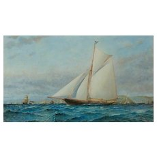 Watercolour of Gaff rigged racing cutter Xanthe off Dartmouth by Barlow Moore