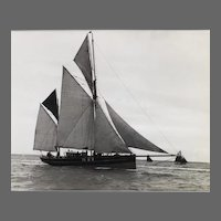 Early silver gelatin photographic print by Beken of Cowes - Brixam sailing trawler BM76