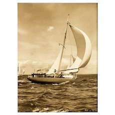 Unusualy large silver gelatin photographic print of the yacht Right Royal by Beken of Cowes.