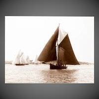 Early silver gelatin photographic print by Beken of Cowes - Yacht Deamarie of IOW