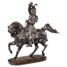 An Italian bronze equestrian sculpture of Emanuele Filiberto, Duke of Savoia, by Baron Carlo Marochetti