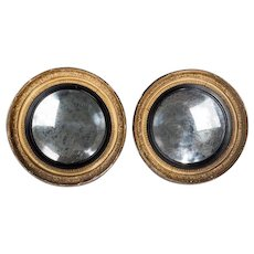 Pair of gilded circular convex mirrors from the Captain's cabin of HMS Blanch, the Battle of Copenhagen (England, 1795)