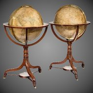 "Pair of 21"" Cary's terrestrial and celestial library globes"