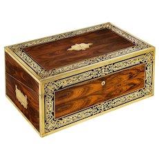 A superb William IV brass-inlaid kingwood writing box by Edwards