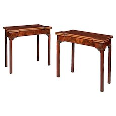 A very fine pair of George III mahogany and plum pudding mahogany concertina action card tables