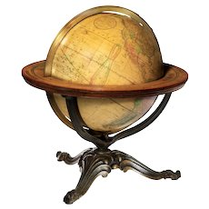 A 12 inch Franklin terrestrial table globe by Nims & Co, New York.