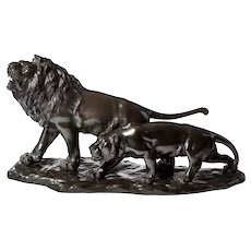A Meiji period bronze study of a lion and lioness by 'Genryusai Seiya'