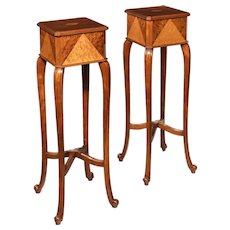A pair of Anglo-Indian teak stands
